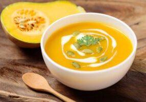 Butternut squash soup with pumpkin seed and fresh butternut squa